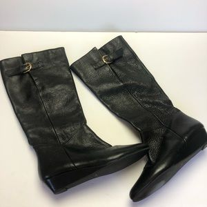 Steven Intyce Black Leather Wedge Boots